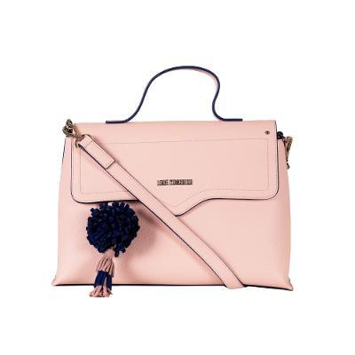 FLOWER CHARM large shoulder bag pink